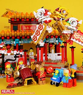在攤販林立的廟會中觀賞精彩的舞獅表演! LEGO 80104、80105【舞獅、新春廟會】Lion Dance、Chinese New Year Temple Fair 開箱報告
