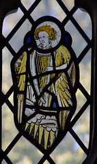 Norwich School angel playing a harp (15th Century, composite)