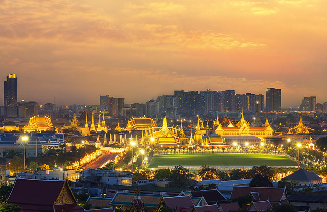 The Emerald Buddha Temple or The Wat Phra Kaew. full official name Wat Phra Si Rattana Satsadaram with in the Grand Palace. popular tourist attraction Landmarks of Bangkok. Thailand.