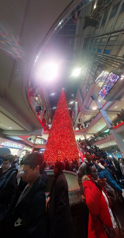 Looking up, panorama #toronto #eatoncentre #christmas #christmastree #tree #lights #red #boxingday #googlephotos #panorama
