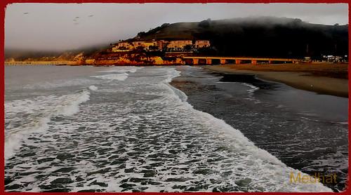 sunrise fog surf whitewaterviews hills birds trees clods bridge