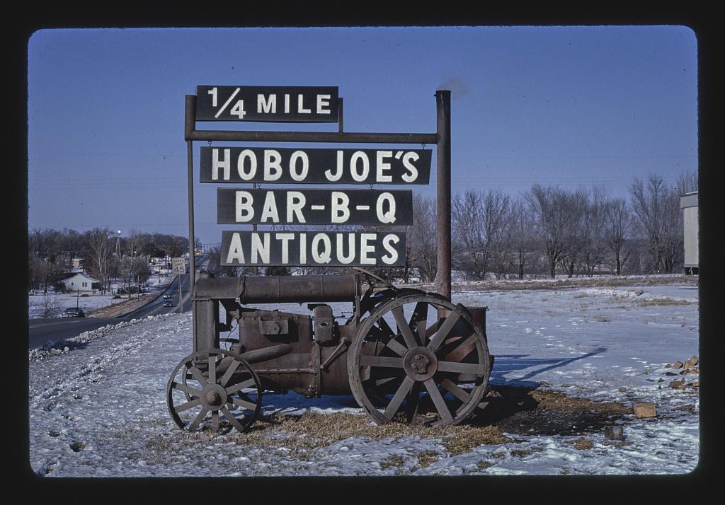 Hobo Joe's BBQ 7 antiques sign, Route 71, Springdale, Arkansas (LOC)