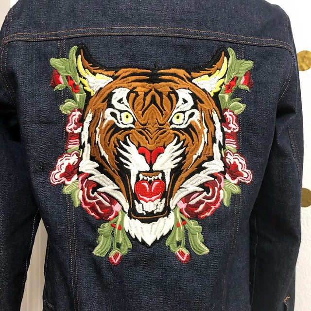 2019: Patched denim jacket