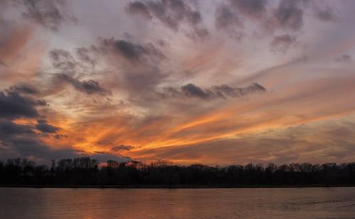 2019 december kevinpovenz westmichigan michigan ottawa ottawacounty maplewoodpark evening sunset dusk orange yellow pond lake reflection clouds sun sigma canon7dmarkii