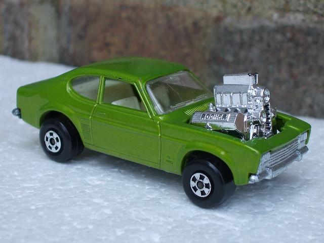 Vintage 1970's Matchbox Superfast Rola Matics Metallic Green Hot Rocker Ford Capri Hot Rod