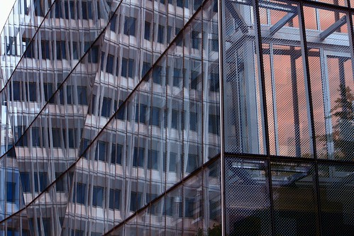 christchurch newzealand building architecture glass abstract reflection lines rectangles urban city blue sunset color colour mesh windows
