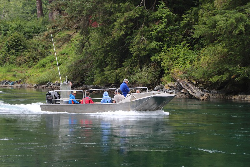 Here comes our boat ride at Nitinat Narrows - other hikers are being dropped off and heading north