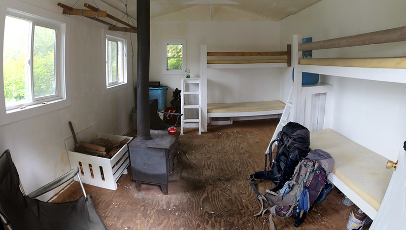 The cabin is simple but cozy - we did laundry outside and hung it up over the wood stove to dry