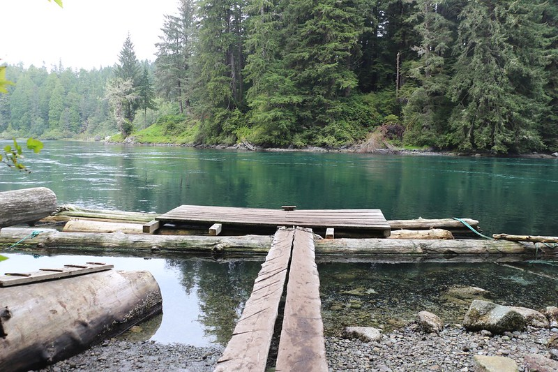 The boat dock on the northern (west) shore of Nitinat Narrows where we had to wait for the ferry boat