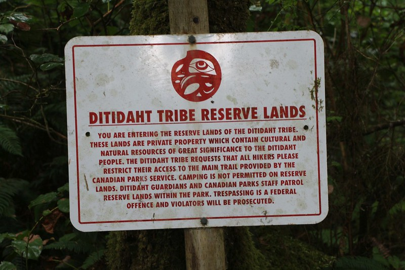Sign on the West Coast Trail as we enter the First Nations Ditidaht Tribe Reserve Lands
