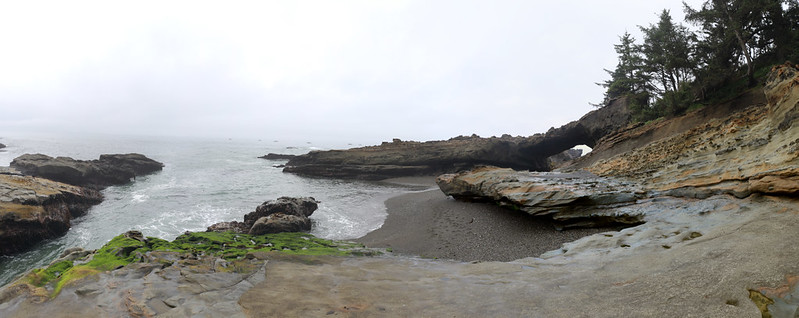 We had to climb up on the rocks at Tsusiat Point to avoid getting wet by the surging water