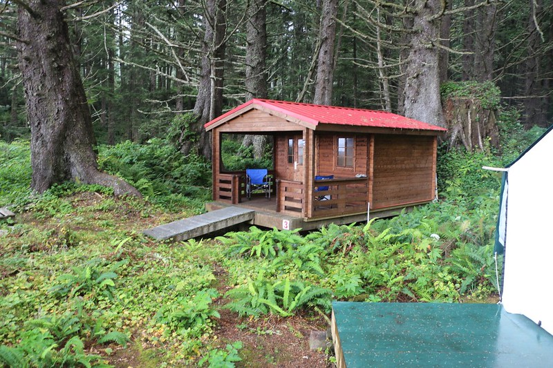 Cabin in the Ditidaht Tribe Reserve Lands north of Nitnat Narrows that is for rent to hikers on the West Coast Trail