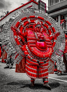 Marking the beginning of Onam celebration -Attachanayam procession was a feast filled with the traditional art forms from the god's own country. In the frame a demigod form of - Theyyam. Captured with OnePlus 7 Pro.. processed in lightroom and Photoshop