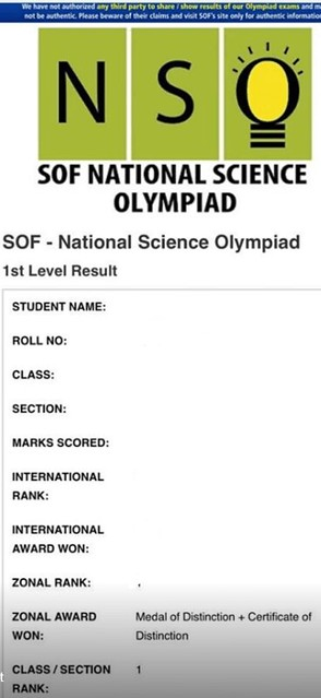NSO Result - Scorecard sample