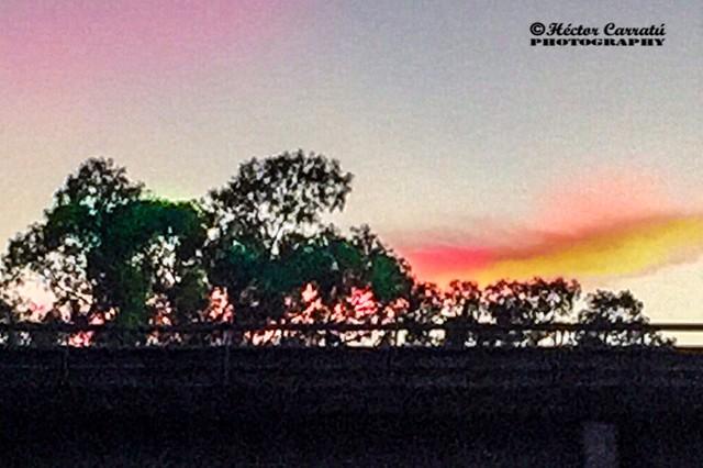 Colorido amanecer sobre el puente