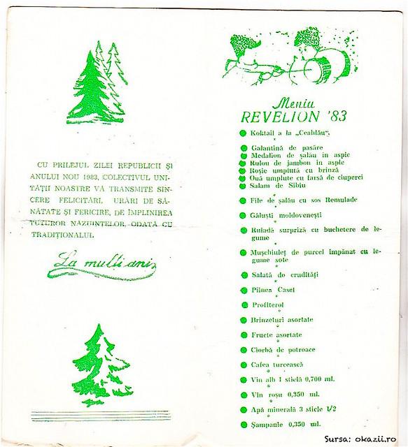 Meniu Rev Ceahlăul PN 1983