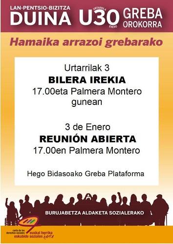 Cartel convocatoria nueva reunión Huelga 30E