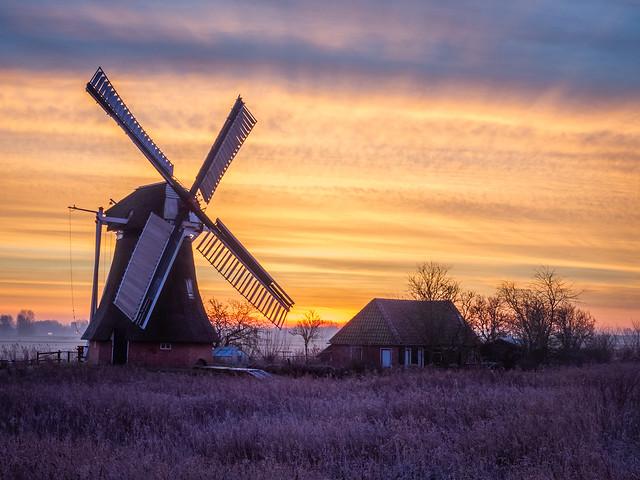 Dutch windmill by sunrise 😍