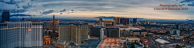 Morning Fog The Cosmo - PH - Bellagio - Caesars - Paris - Ballys - Mirage - Venetian - Palazzo - TI - Wynn Panorama from Elara HGV Top Floor (4036) Las Vegas Strip, NV 12-8-2019.