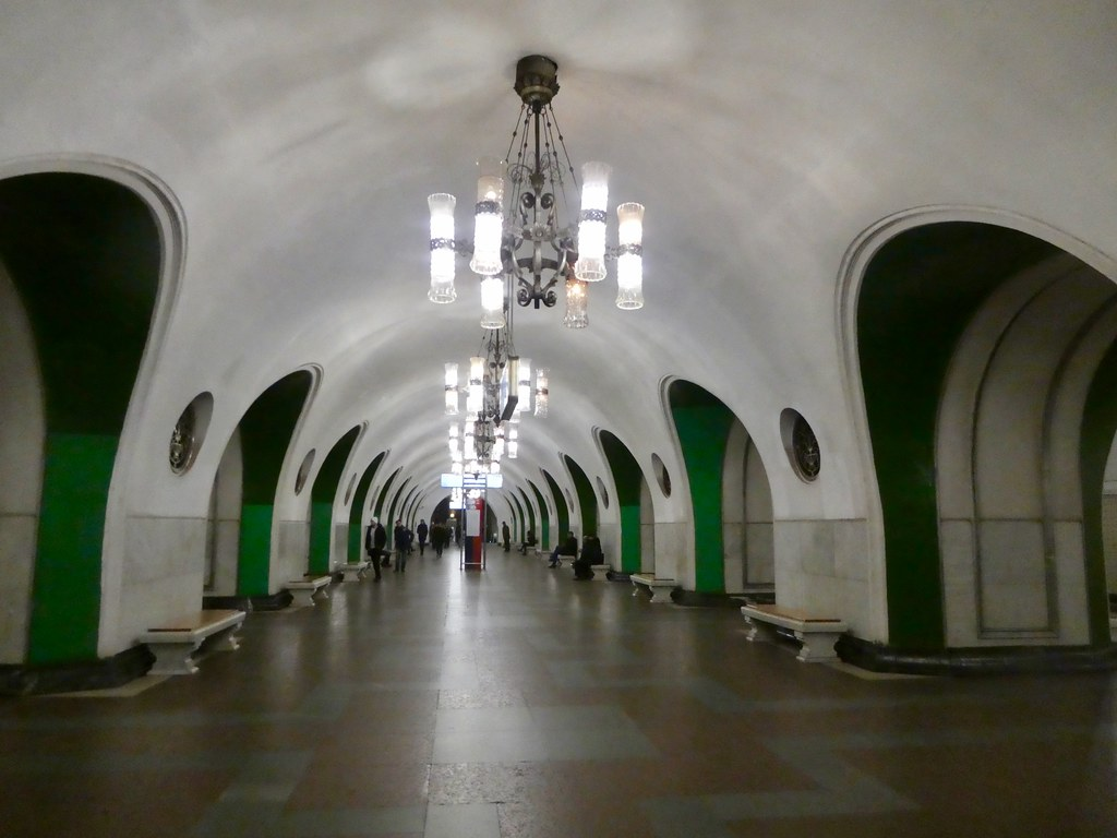 The platform of the VDNKh metro station, Moscow
