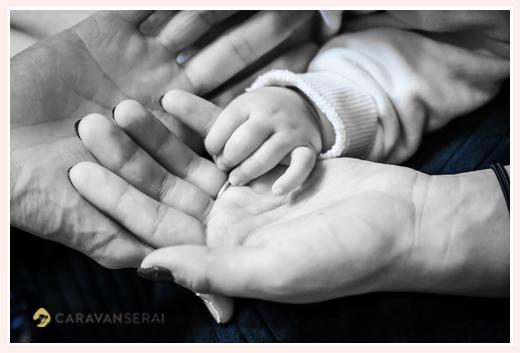ファミリーフォト 赤ちゃん、パパ、ママの手