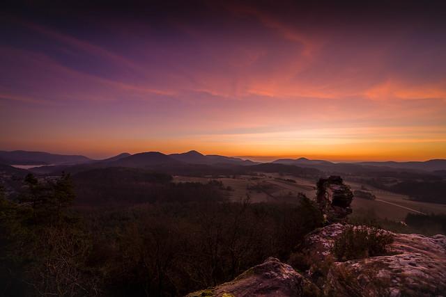 Geiersteine bei Sonnenaufgang