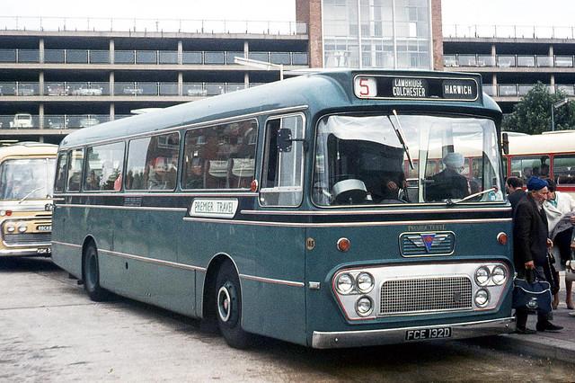 Premier Travel . Cambridge . 185 FCE132D . Bedford Bus Station , Bedfordshire . Friday 05th-September-1969 .