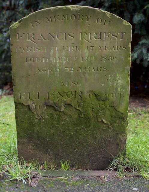 Headstone of the former Parish Clark