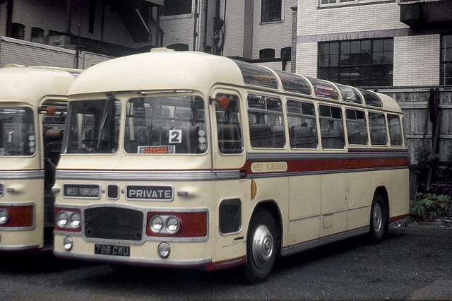 West Yorkshire Road Car Co . CUG 38 798CWU . Westminster Coach Park , London . Saturday 06th-September-1969 .