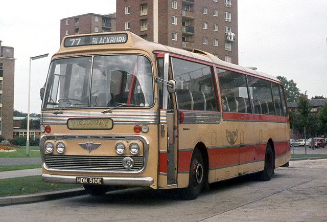Yelloway Motor Services . Rochdale , Lancashire . HDK510E . Bedford Bus Station . Friday 05th-September-1969 .