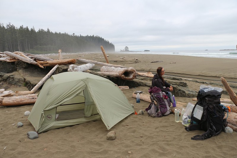 Our tent and campsite on the beach at Cribs Creek on the West Coast Trail