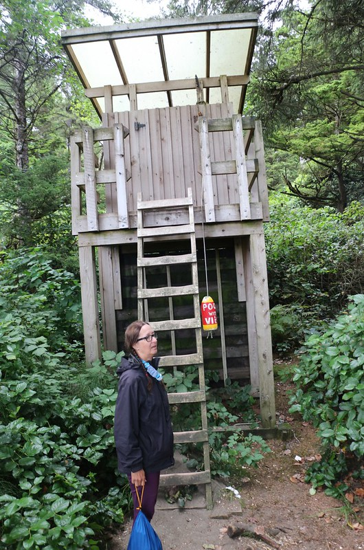 The two-story outhouse at the Cribs Creek Campsite - the buoy says Poo With A View