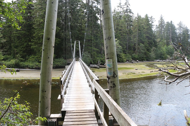 Wooden Suspension Bridge over the Cheewhat River