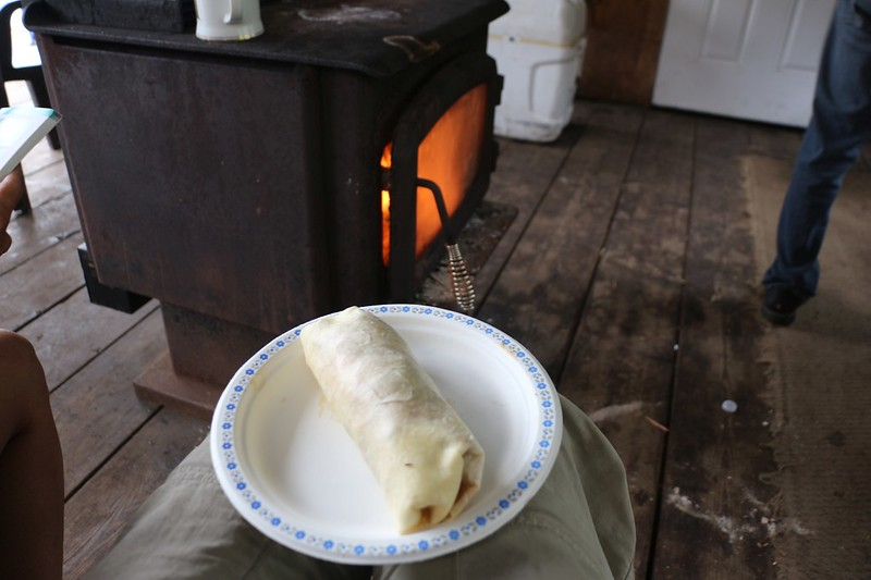 We ate Breakfast Burritos at the Nitinat Narrows Crab Shack and warmed ourselves by the fire