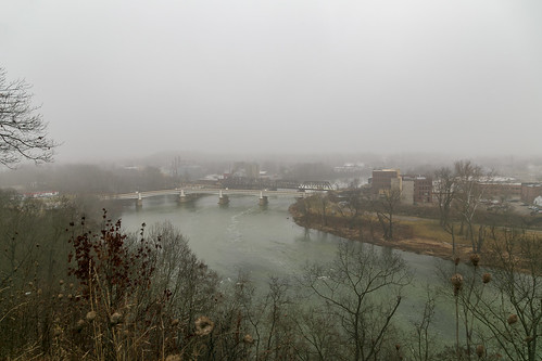 view muskingumriver fog valley scenic overlook ybridge buildings structures muskingumcounty ohio zanesville