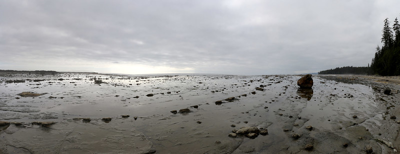 Panorama shot of the flat rocky slabs just north of Cribs Creek