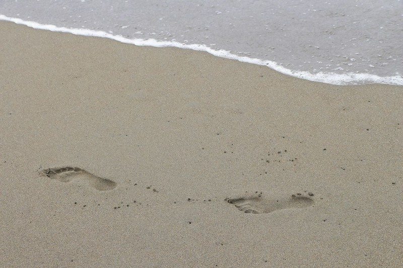 Vicki's footprints in the sand