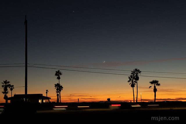 Venus, the New Moon, and Cars on PCH at Dusk