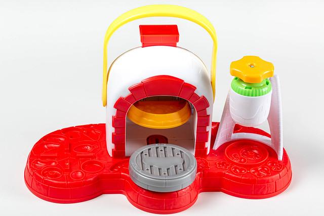 Game set pizzeria for children on a white background