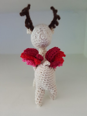 A different view of my crocheted mythical deer bird that I named Shika.