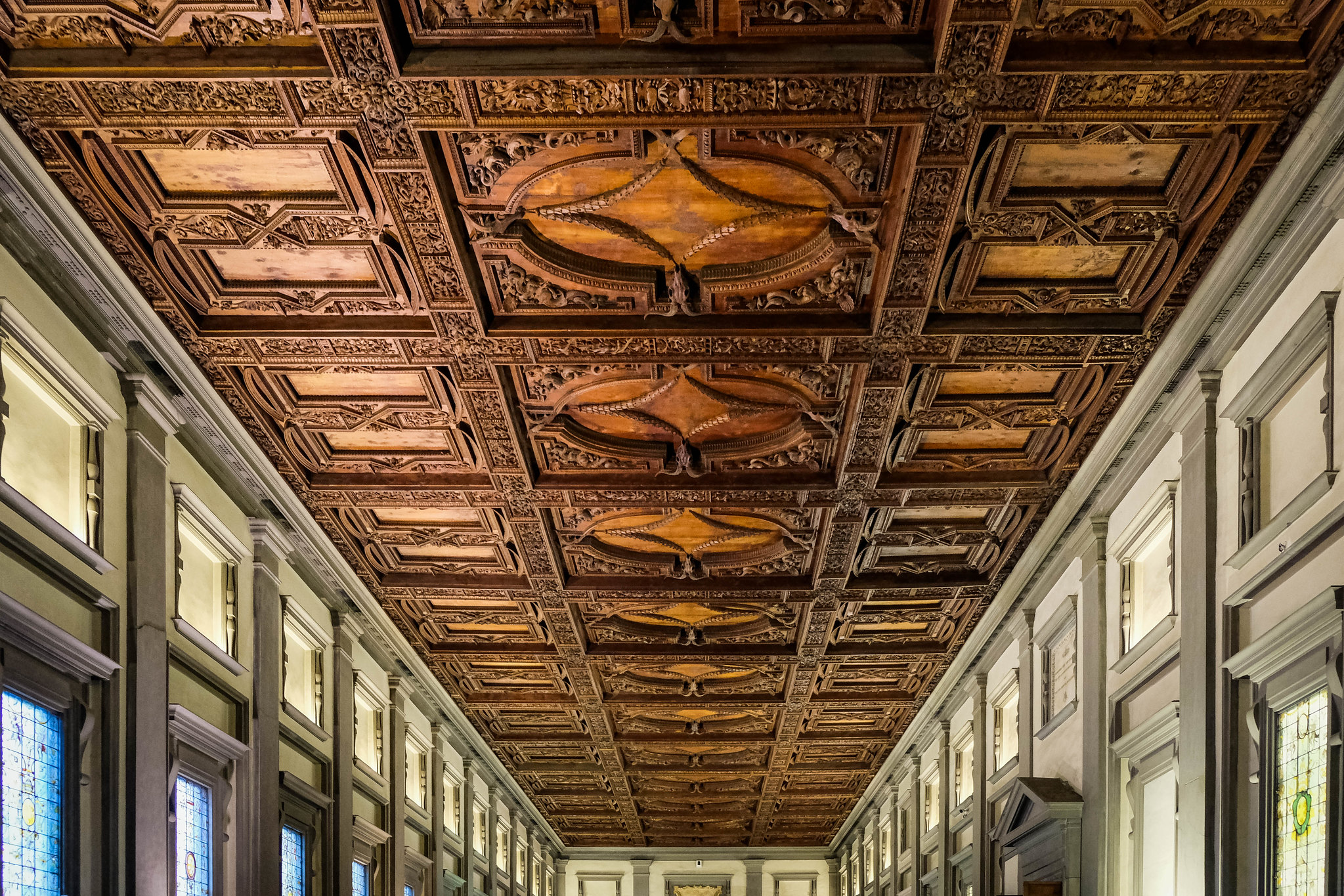 Amazing wooden ceiling of the library