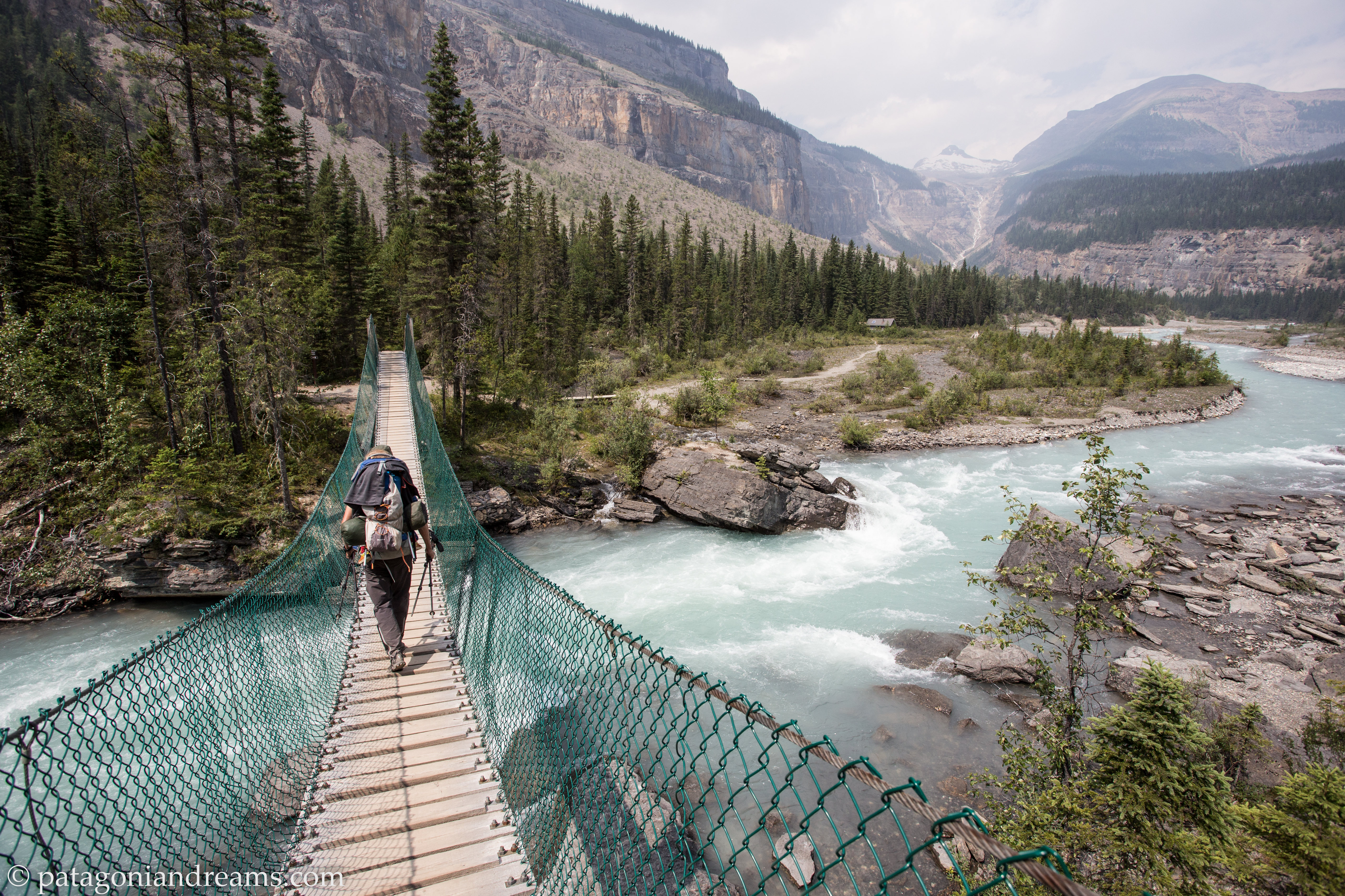 Crossing the suspension bridge near the Whitehorn campground in the Valley of a thousand falls.