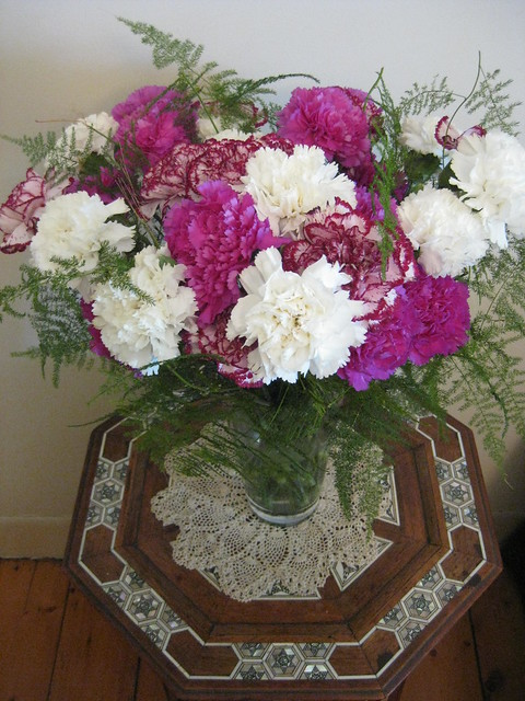 Christmas Carnations in Russet, Magenta and White