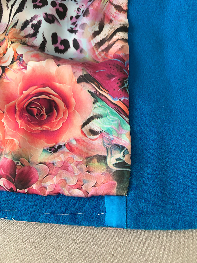 Blue jacket lining front edge