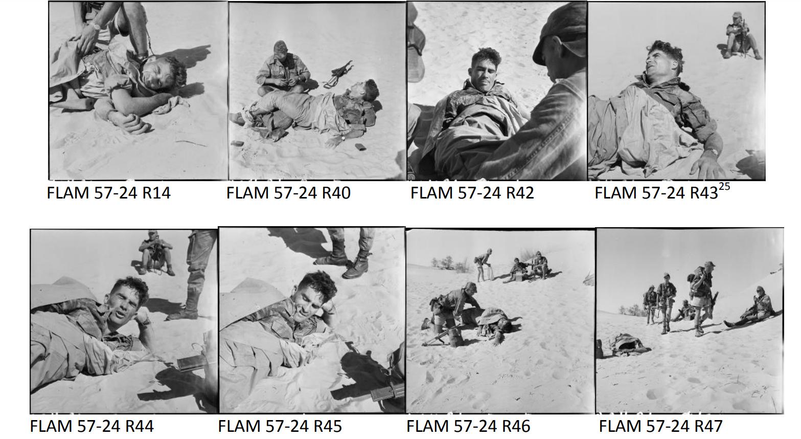 Secuencia de la agonía del sargento Sentenac en la batalla de Timimoun el 21 de noviembre de 1957. Fotografía de Marc Flament. ECPAD – Collection Flament.
