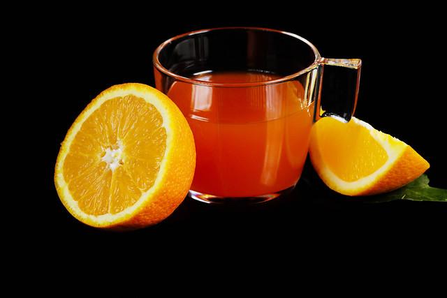 Orange Punch, German drink on black background