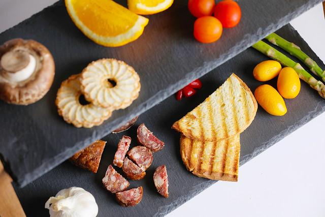 Various food ingredients on a display plate