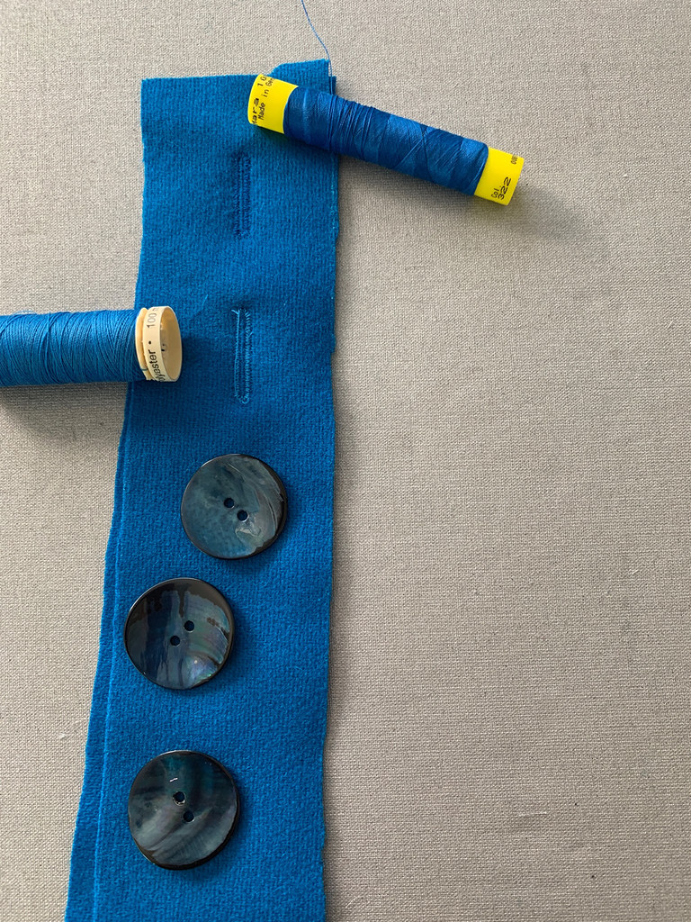 Blue jacket test buttonholes