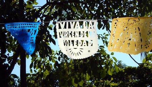 Virgen de la Soledad banners in Puerto Escondido, Mexico