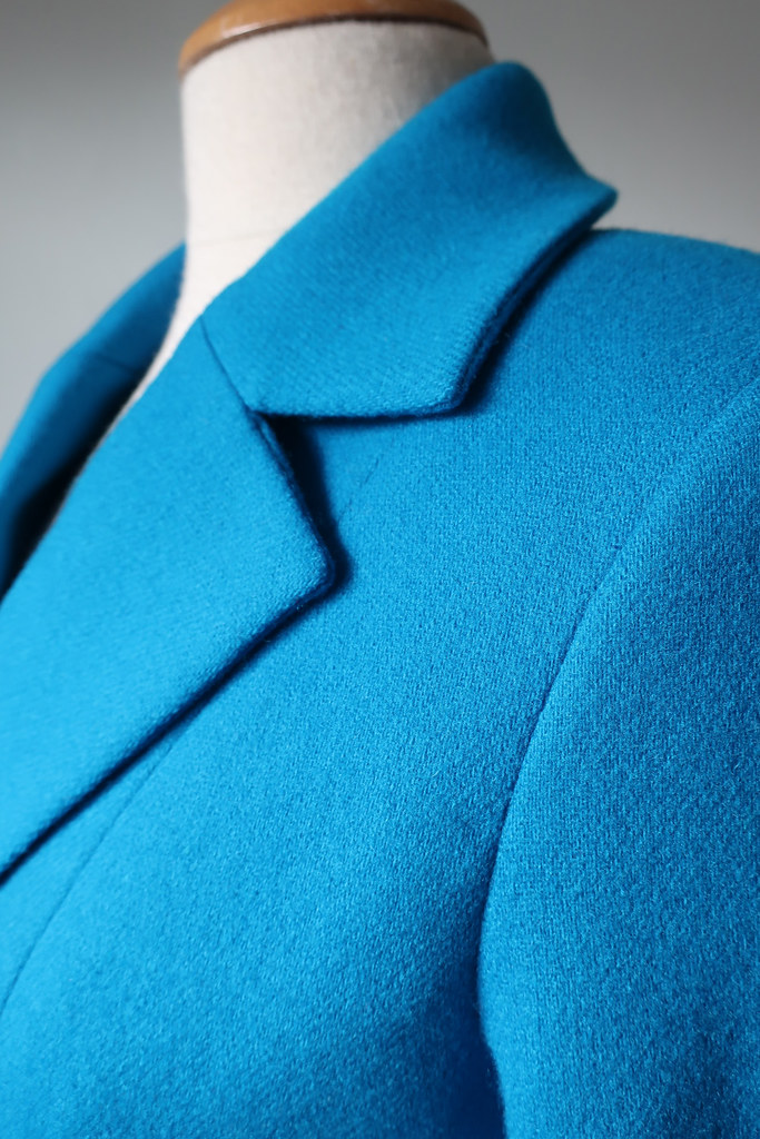 Blue jacket lapel closeup